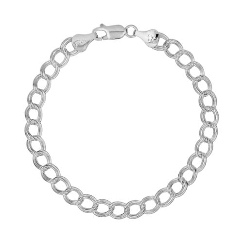 Sterling Silver Double Link Curb Chain Bracelet – 7-in.