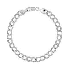 Sterling Silver Double Link Curb Chain Bracelet - 8 in
