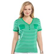 Chaps Striped Henley - Women's Plus
