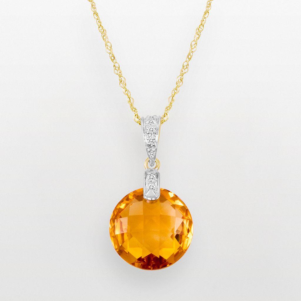 14k Gold Citrine & Diamond Accent Pendant