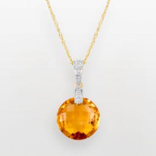 14k Gold Citrine and Diamond Accent Pendant