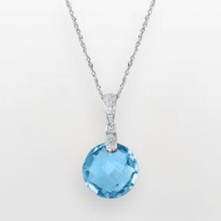 14k White Gold Blue Topaz and Diamond Accent Pendant