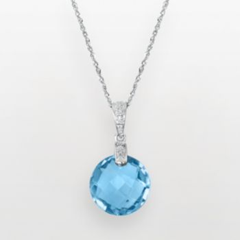 14k White Gold Blue Topaz and Diamond Accent Pendant