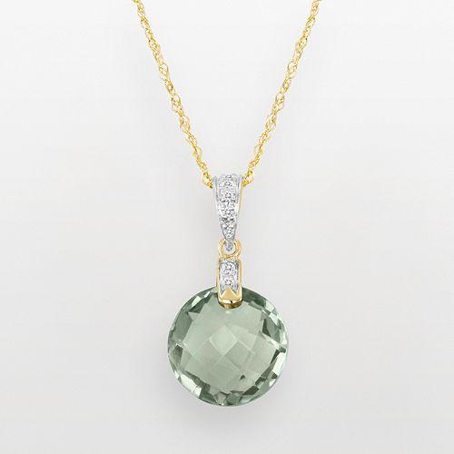 14k Gold Green Quartz & Diamond Accent Pendant
