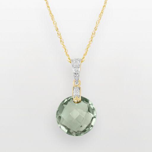 14k Gold Green Quartz and Diamond Accent Pendant