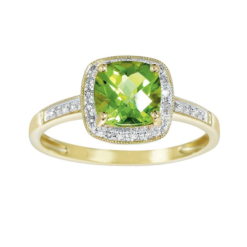14k Gold Peridot & Diamond Accent Frame Ring