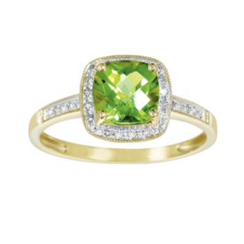 14k Gold Peridot and Diamond Accent Frame Ring