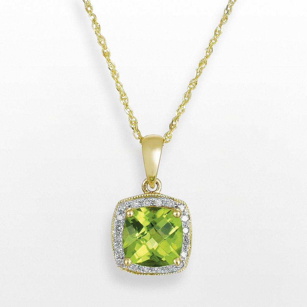 14k Gold Peridot & Diamond Accent Frame Pendant