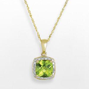 14k Gold Peridot and Diamond Accent Frame Pendant