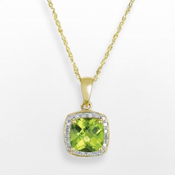 14k Gold Peridot & Diamond Accent Frame Pendant
