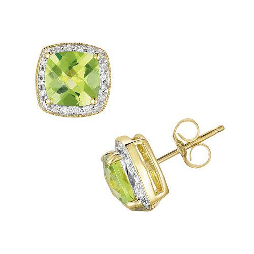14k Gold 1/8 Ct. T.W. Diamond & Peridot Stud Earrings by