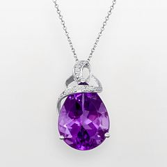 Sterling Silver Amethyst & Diamond Accent Teardrop Pendant