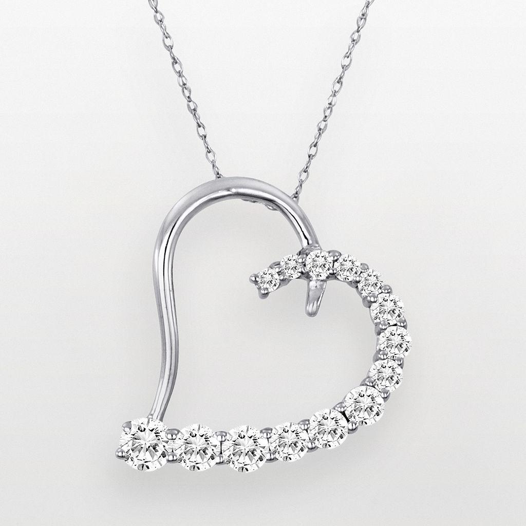 14k White Gold Cubic Zirconia Heart Pendant