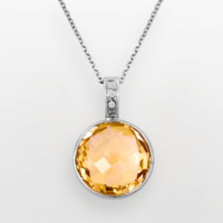 Sterling Silver Citrine and Diamond Accent Pendant