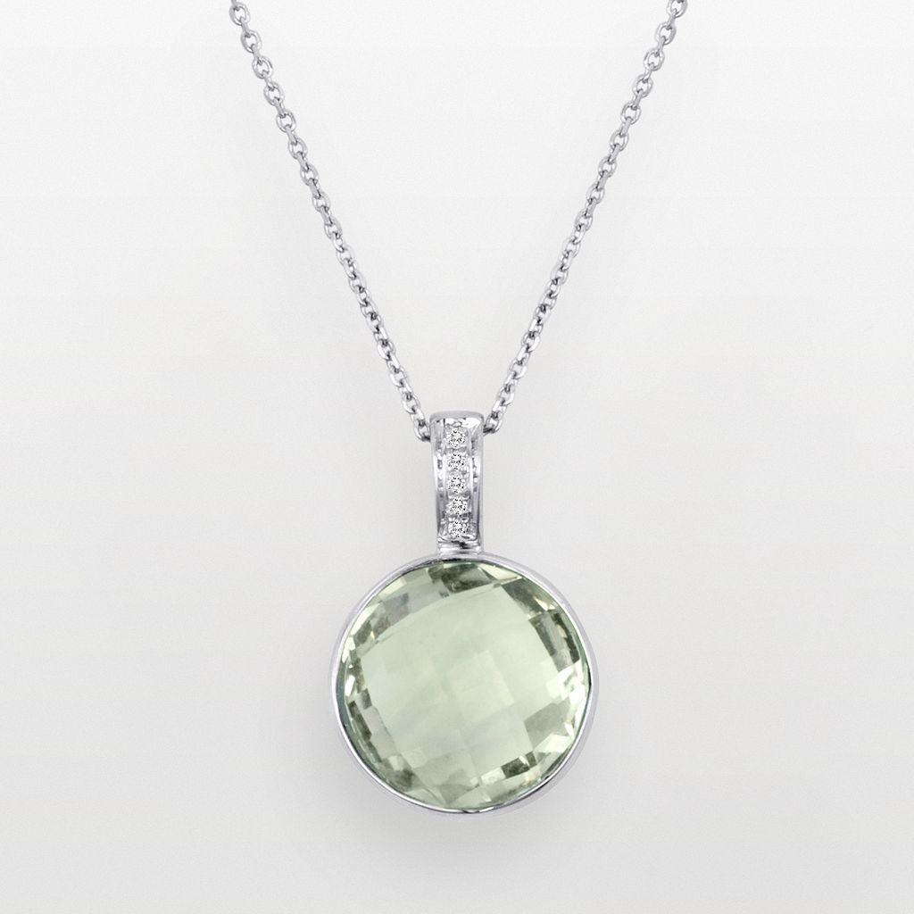 Sterling Silver Green Quartz & Diamond Accent Pendant