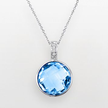 Sterling Silver Blue Topaz & Diamond Accent Pendant