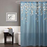 Lush Decor Flower Drop Fabric Shower Curtain