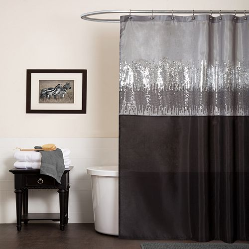 Lush Decor Night Sky Fabric Shower Curtain