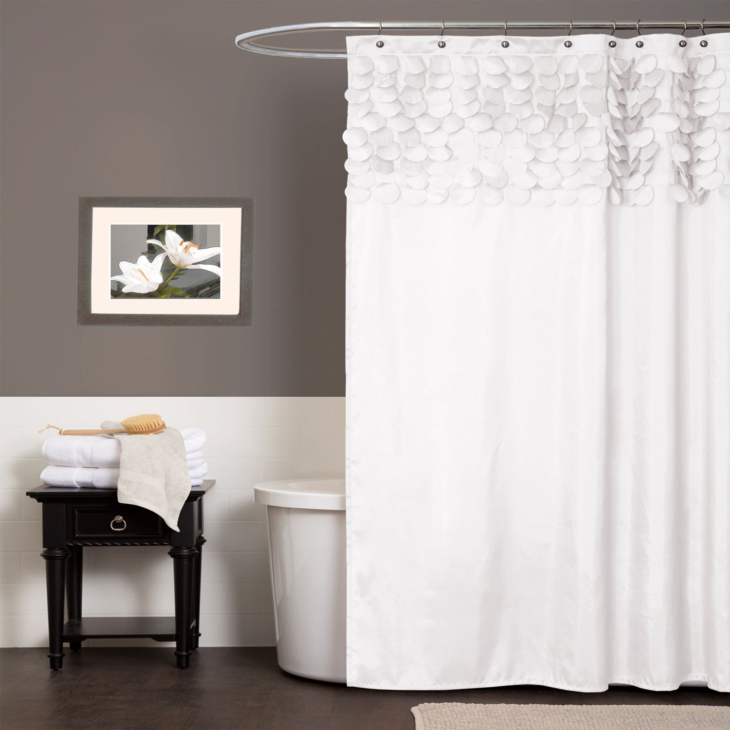 Hookless fabric shower curtain with built in liner taupe diamond pique - White Shower Curtains Fabric Part 15 Lush Decor Lillian Fabric Shower Curtain