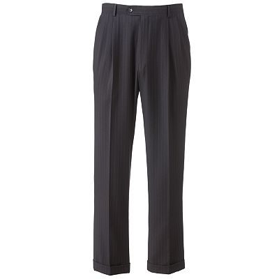 Savile Row Striped Double-Pleated Dress Pants