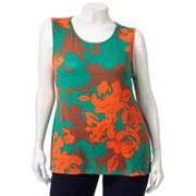 Croft and Barrow Floral Tank - Women's Plus
