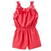 Chaps Solid Ruffled Romper - Girls 4-6x