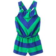 Chaps Rugby-Striped Cross-Back Romper - Girls 4-6x
