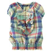 Chaps Plaid Ruffle Top - Girls 4-6x