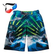 ZeroXposur Shark Frenzy Swim Trunks - Boys 4-7