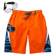 ZeroXposur Shark Wave Swim Trunks - Boys 4-7