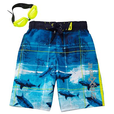 ZeroXposur Shark and Map Swim Trunks - Boys 4-7