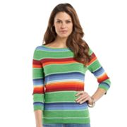 Chaps Striped Linen Blend Sweater