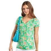 Chaps Floral Smocked Peasant Top