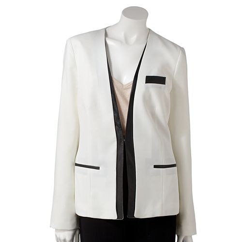 Women's Jennifer Lopez Faux-Leather Trim Tuxedo Blazer
