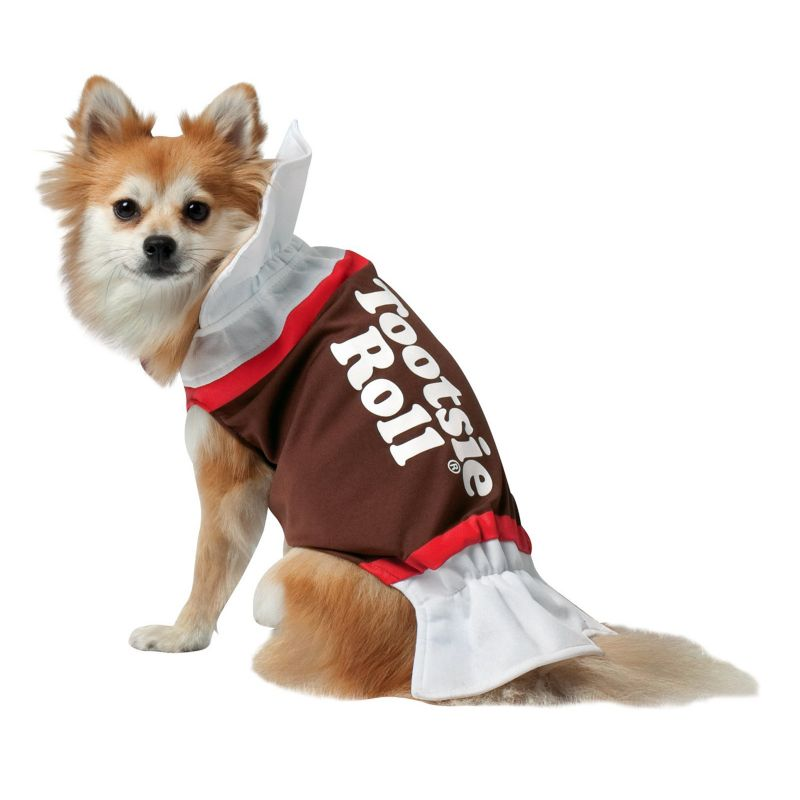 Tootsie Roll Dog Costume - Pet, Size: MEDIUM (White)