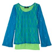 IZ Amy Byer Mock-Layer Lace Top - Girls 7-16