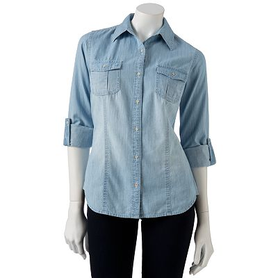 SO Chambray Button-Front Shirt - Juniors