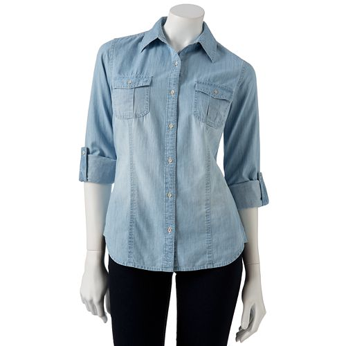 SO® Chambray Button-Front Shirt - Juniors