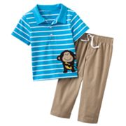Carter's Striped Monkey Polo and Pants Set - Baby