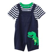 Carter's Dinosaur Shortalls and Striped Tee Set - Baby