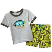 Carter's Monkey Tee and Floral Hawaiian Shorts Set - Baby