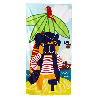Jumping Beans Pug Pirate Beach Towel