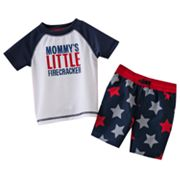Carter's Mommy's Little Firecracker Rash Guard and Swim Trunks Set - Baby