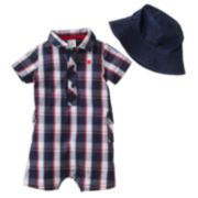 Carter's Plaid Romper and Bucket Hat Set - Baby