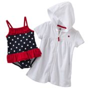 Carter's Polka-Dot One-Piece Swimsuit and Hooded Cover-Up Set - Baby