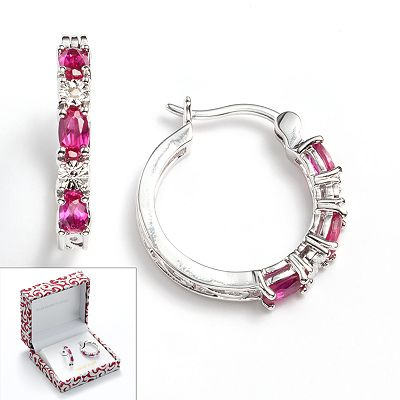 Platinum Plate Lab-Created Ruby and Diamond Accent Scrollwork Hoop Earrings