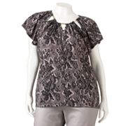 Jennifer Lopez Lace Print Top - Women's Plus