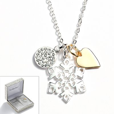 Silver Plated Two Tone Crystal Disc, Heart and Snowflake Charm Necklace