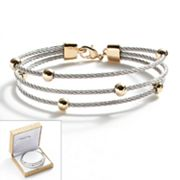 14k Gold Plate and Stainless Steel Bead Station Cable Multistrand Bracelet