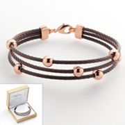 14k Rose Gold Plated and Stainless Steel Brown Ion Bead Station Cable Multistrand Bracelet